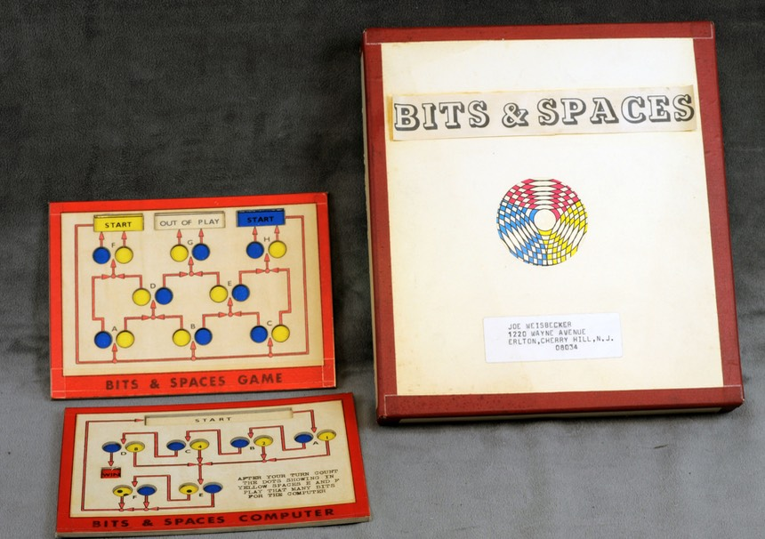 "Photo of Joseph Weisbecker's ""Bits and Spaces"" game prototype; photo courtesy of The College of New Jersey, reproduced here by permission."